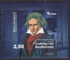 BOSNIA AND HERZEGOVINA  2020,POST SARAJEVO,250 Years Since The Birth Of Ludwig Van Beethoven,Music,Composer,MNH - Bosnia Erzegovina