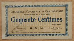 Carcassonne ( AUDE -11  ) 50 Centimes Chambre De Commerce 2 Mars 1920 - Chambre De Commerce