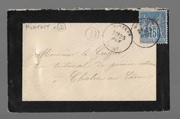 """MONTRET  : 1878 :  CàD  Type 16 Sur Sage 15c Bleu + Boite Rurale """" D """"  :  ( Saône Et Loire ) : - 1877-1920: Periodo Semi Moderno"""