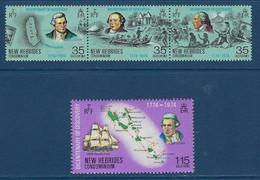 """Nles-Hebrides YT 398 à 401 """" Bicentenaire De La Découverte Des Iles, Anglais """" 1974 Neuf** - Unused Stamps"""