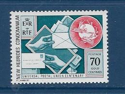 """Nles-Hebrides YT 403 """" UPU, Anglais """" 1974 Neuf** - Unused Stamps"""