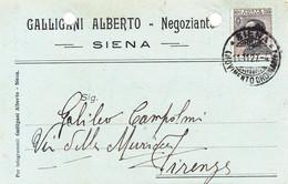 """SIENA - CARTOLINA COMMERCIALE """"GALLIGANI ALBERTO NEGOZIANTE"""" - 1927 - Siena"""