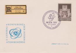1958 AUSTRIA Vienna Conferenza Sull'atomo Annullo Speciale (27.9) Su Cartolina Raccomandata - 1961-70 Covers
