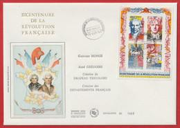 """Enveloppe BICENTENAIRE De La Révolution Française """" Gaspard Monge. Abbé Grégoire """" Drapeau Tricolore """" Sur Soie - Documents Of Postal Services"""