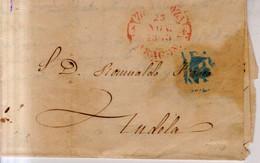 Prefilatelia Año 1848 Carta Zaragoza A Tudela Marcas  Zaragoza Aragon  Y Porteo Azul 1R Juan Almos - ...-1850 Voorfilatelie