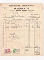 Koloniale Waren - Denrées Coloniales - Ets Penninckx - Erps-Kwerps Kortenberg - 1945 - Factuur - Food