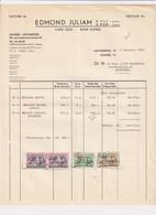 Edmond Juliam - Ruwe Koffies - Cafés Crus - Antwerpen - 1964 - Factuur - Food