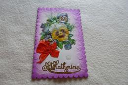 BELLE CARTE FANTAISIE ....FLEURS..PENSEES.. ET STE CATHERINE - Santa Catalina