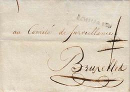L.A.C Du 5 Frimaire De L'an 3 Comité De Surveillance De Louvain Vers Bruxelles Port 1 Barré 1794 Vignette Emblématique - Documents Historiques
