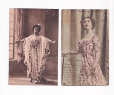 2 CPA LINA CAVALIERI MADAME DAMOUR ARTISTES 1900 THEATRE OPERA BELLE EPOQUE STAGE WOMEN POSTCARDS - Entertainers