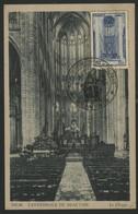"""N° 666 CATHEDRALE DE BEAUVAIS Sur CARTE MAXIMUM + Cachet Illustré """"EXPOSITION PHILATELIQUE BEAUVAIS 9/9/45"""" - 1940-49"""