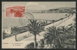 """N° 777 CROISETTE DE CANNES Sur CARTE MAXIMUM + C.à.d Temporaire """"SALON TOURISTIQUE HOTELLERIE PARIS 4/11/51"""" - 1940-49"""