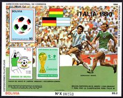 Bolivia 1988 World Cup Football Souvenir Sheet Unmounted Mint. - Bolivia