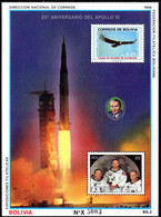 Bolivia 1989 Moonlanding Souvenir Sheet Unmounted Mint. - Bolivia