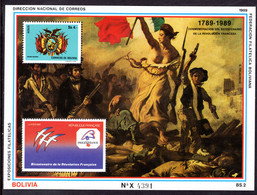 Bolivia 1989 French Revolution Souvenir Sheet Unmounted Mint. - Bolivia