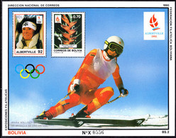 Bolivia 1990 Olympics Maria Walliser Souvenir Sheet Unmounted Mint. - Bolivia
