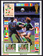 Bolivia 1990 World Cup Football Souvenir Sheet Unmounted Mint. - Bolivia