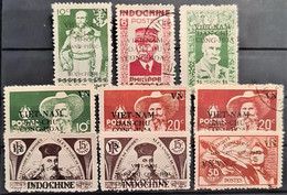 INDOCHINE - MLH/canceled - VIETNAM DU NORD 1945 - 9 Overprinted Stamps - Nuevos