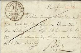 1838- Lettre De SAINT-GERAND ( Allier ) Cad T13 En P.P. Pour Paris - 1801-1848: Voorlopers XIX