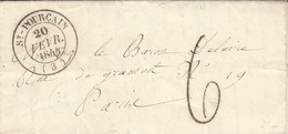1844-lettre De St-Pourçain ( Allier ) Cad T14 Taxe 6 Tampon Pour Paris - 1801-1848: Voorlopers XIX