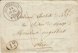 1845-enveloppe ( Texte à L'intérieur De St-Pourçain ( Allier ) Cad T14  Taxe 4  Pour Moulins - 1801-1848: Voorlopers XIX