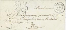 1853- Enveloppe De LAPALISSE ( Allier ) Cad T15 Taxe Dt 25 Pour Paris - 1849-1876: Classic Period