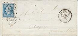 1864- Lettre De LA PALISSE ( Allier ) Cad T15 Affr. N°22 Oblit. G C 2774 - 1849-1876: Classic Period