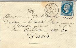 1867- Enveloppe De LE VEURDRE ( Allier ) Cad T15 Affr. N°22 Oblit. G C 4171 - 1849-1876: Classic Period