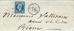 1860- Lettre De CUSSET ( Allier ) Cad T15 Affr. N°14 Oblit. Pc 1062 - 1849-1876: Classic Period