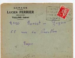 E 8 1933 Lettre Entete Garage à Tullins En Isere  Devant De Lettre - 1921-1960: Modern Tijdperk