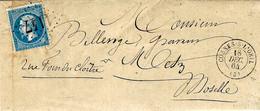 1864- Lettre De COSNES-sur-LOIRE ( Allier ) Cad Y15 Affr. N°22 Oblit. G C 1147 - 1849-1876: Classic Period