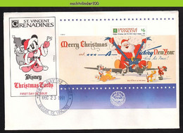 Ncs2111b WALT DISNEY VLIEGTUIG HOND EHBO DOG PLUTO MICKEY DONALD CHRISTMAS CARD PLANE GRENADINES OF ST. VINCENT 1991 FDC - Disney