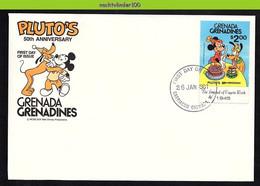 Nfe1742b WALT DISNEY 50 JAAR PLUTO HOND DOG HUNDE CHIENS GRENADA GRENADINES 1981 FDC - Disney