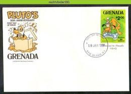 Nfe1332b WALT DISNEY 50 JAAR HOND PLUTO DOG HUNDE CHIENS GRENADA 1981 FDC - Disney