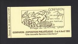 CARNET PRIVEE MARIANNE BRIAT EXPOSITION PHILATELIQUE A GONFARON 1993 THEME ANNE TORTUE VIN RAISIN - Andere