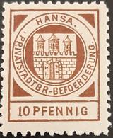 Germany Stadtpost/Privatpost Lübeck 1897 10 Pfg Michel B3 Unused - Sello Particular
