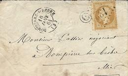 1864- Enveloppe De DOMPIERRE -S-BEBRE ( Allier ) Cad T15 Affr. N°21 Oblit. G C 1321 + C Boite Rurale N I - 1849-1876: Classic Period