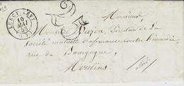 1853- Lettre De LURCY-LEVY ( Allier ) Cad T15 +  Taxe 25 Dt - 1849-1876: Classic Period