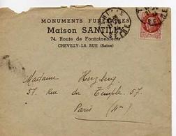 E 4 1944 Lettre Entete Monuments Funéraires  à Chevilly La Rue - 1921-1960: Moderne