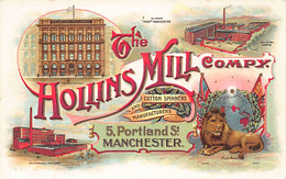 Manchester (Lancashire) The Hollins Mill Co., 5 Portland St - ADVERTISING POSTCARD - Manchester