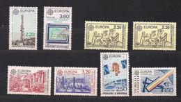 Cept 1988 - 1991  Andorre Français Andorra Yvertn° 369-370, 378-379, 388-389, 402-403 *** MNH Cote 63 Euro - 1988