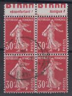 SEMEUSE CAMÉE N° 360 En BLOC De 4 TIMBRES ISSU DE CARNET Avec BANDE PUB BYRRH OBLITÉRÉ - 1906-38 Semeuse Camée