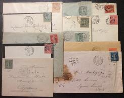 Lot De 12 Ambulants Sur Semeuse Et Mouchon 1900 à 1920 - 1877-1920: Semi Modern Period