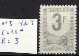 Timbre Pour Colis Postal (0 à 50 Kilos) émis Pour La SNCF N° 3 Neuf * Belle Dentelure, Trace De Charnière, Cote 14 Euros - Neufs