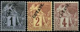 Lot N°A389 Colonies Guyane N°16/18 Neuf * Qualité TB - Unused Stamps