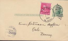 United States Uprated Postal Stationery Ganzsache Jefferson HATTON N. Dakota 1945 Norway U.S. CENSORSHIP Purple Cancel - 1941-60