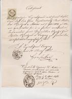 CERTIFICATO VISTO DALLA LEGAZIONE D' AUSTRIA IN TOSCANA  NEL 1855. CON FISCALE DA 15 KEUZER - Documenti Storici