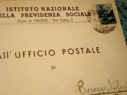VARESE  ISTITUTO NAZ PREVVIDENZA X BESOZZO INFERIORE   1949 HX3760 - Varese