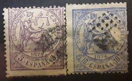 ESPANA ESPAGNE SPAIN 1874, Regence , 2 Timbres Yvert No 142 & 143 Obl VARIETE DE PIQUAGE - Oblitérés