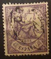 ESPANA ESPAGNE SPAIN 1874, Regence ,  Yvert No 146 , 40 C  Violet   Obl, Bon Centrage  TTB - Oblitérés